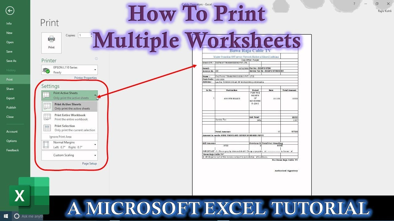 How To Print Multiple Active Worksheets in Microsoft Excel 2016 Tutorial |  The Teacher