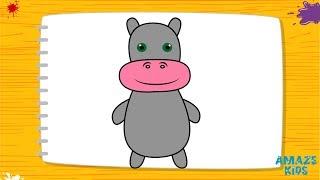 Как Нарисовать Бегемотика для Детей. Учимся Рисовать Животных. Уроки Рисования для Начинающих
