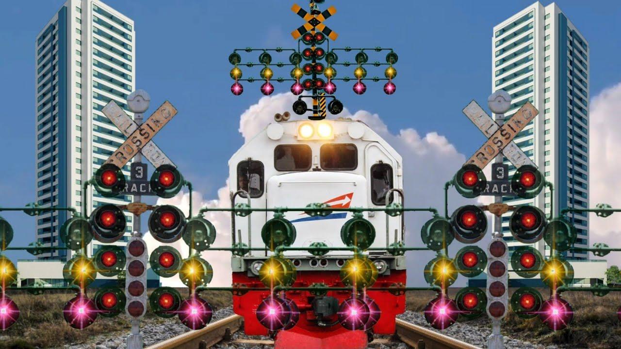 Download Palang pintu kereta api lampunya banyak banget   Animasi perlintasan kereta api kartun indonesia