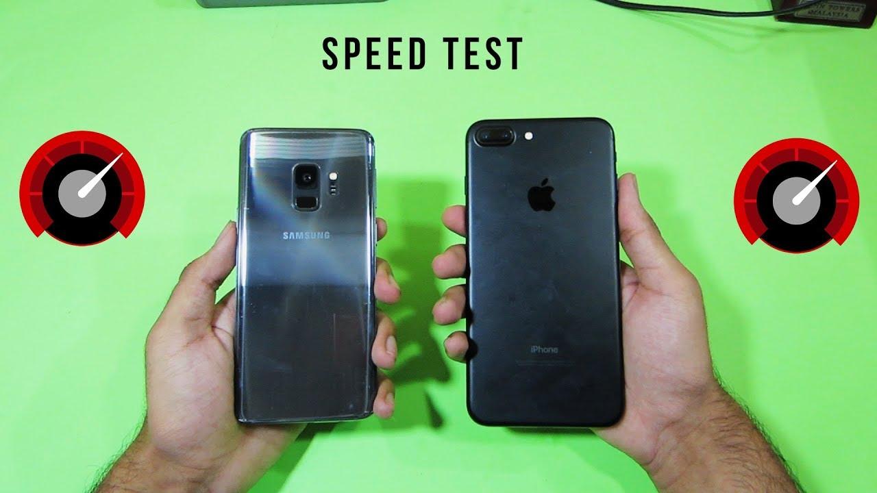 samsung galaxy s9 vs iphone 7 plus speed test 2018. Black Bedroom Furniture Sets. Home Design Ideas