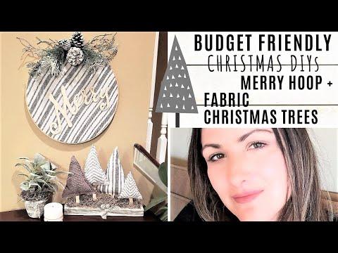 DOLLAR TREE CHRISTMAS DIYS 🎁 FABRIC TREES + HOOP WREATH - BUDGET FRIENDLY
