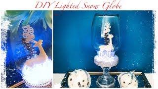 Dollar Tree DIY Winter Decor | LIGHTED Snow Globe Deer Cloche (Collab with Belinda Soto)