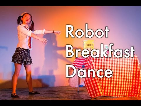 Girl Robot Dance - Funny robot making breakfast