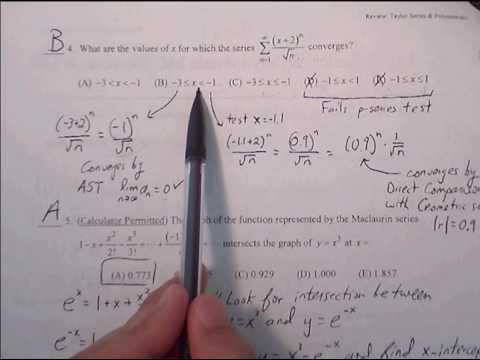 Taylor Series AP Practice Multiple Choice Worksheet 4 #1- 6