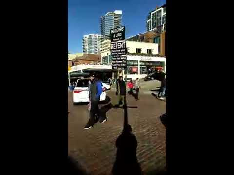 Pike Place market demons tremble at the name of JESUS CHRIST 1-14-17 Rejoice