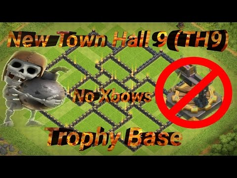 New Town Hall 9 (TH9) Trophy Base W/No Xbows.