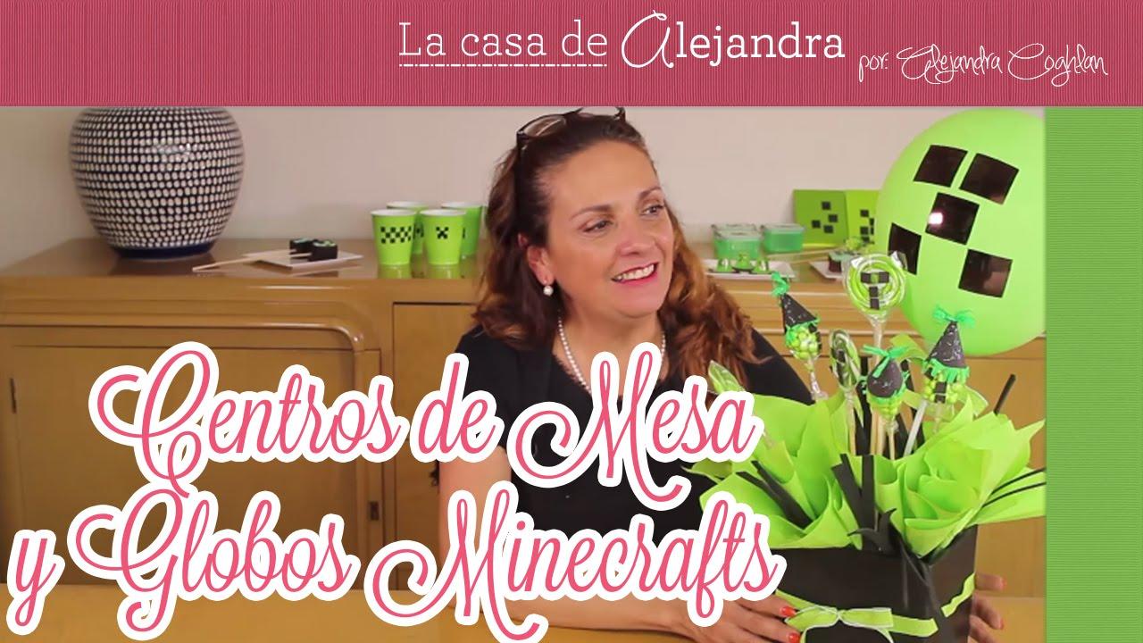Centro De Mesa Con Dulces Y Globos De Fiesta De Minecraft