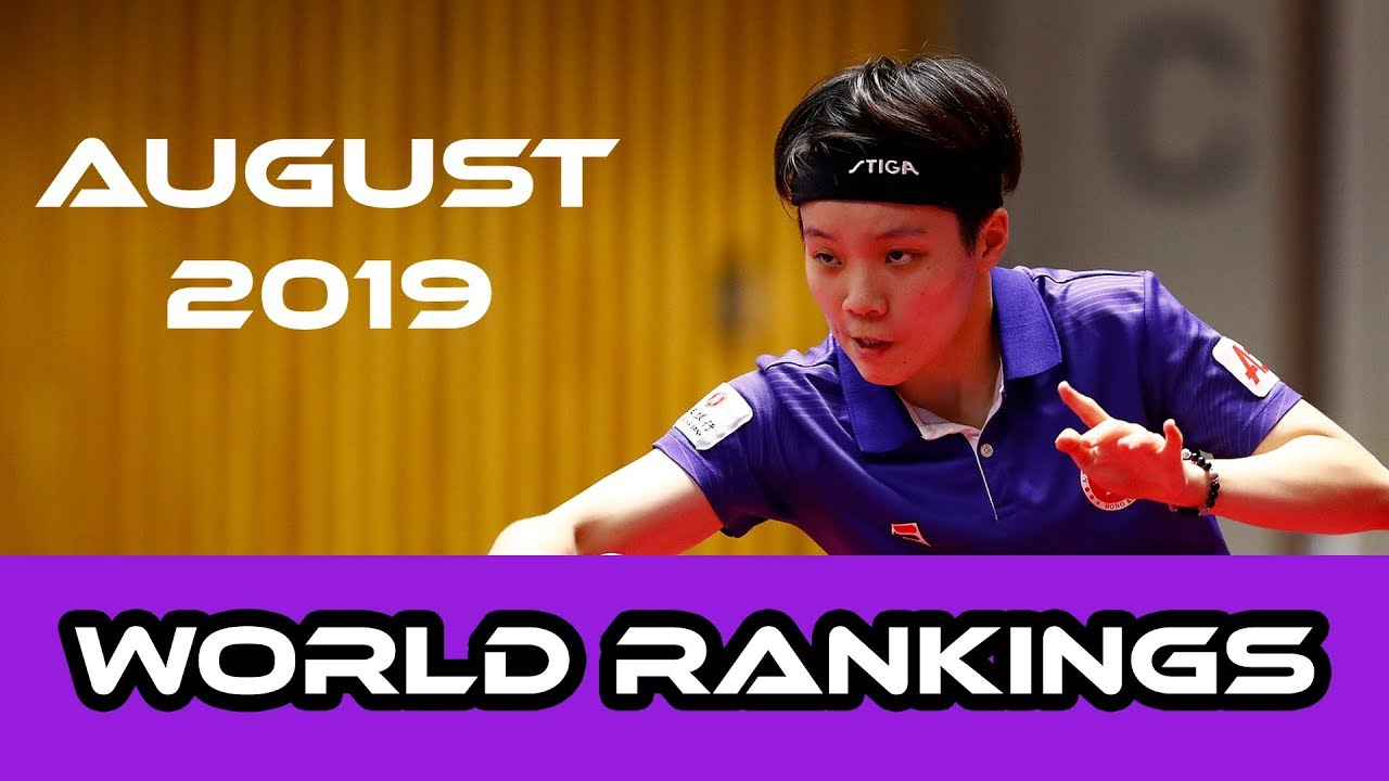 Table Tennis World Rankings August 2019