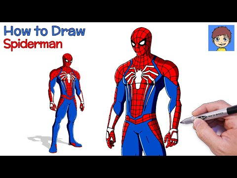 How To Draw Spiderman PS4 Suit Step By Step - Spiderman Drawing Tutorial