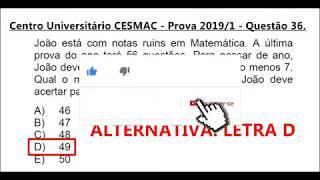MABA VESTIBULARES - Regra De Três Simples -  Centro Universitário CESMAC   Prova 2009