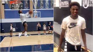 Bronny James throws down nasty reverse dunk as his hops are improving by the day
