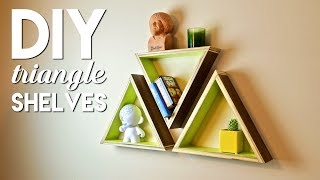 These simple geometric triangle shelves make a perfect beginner woodworking project and are super easy to knock out in an