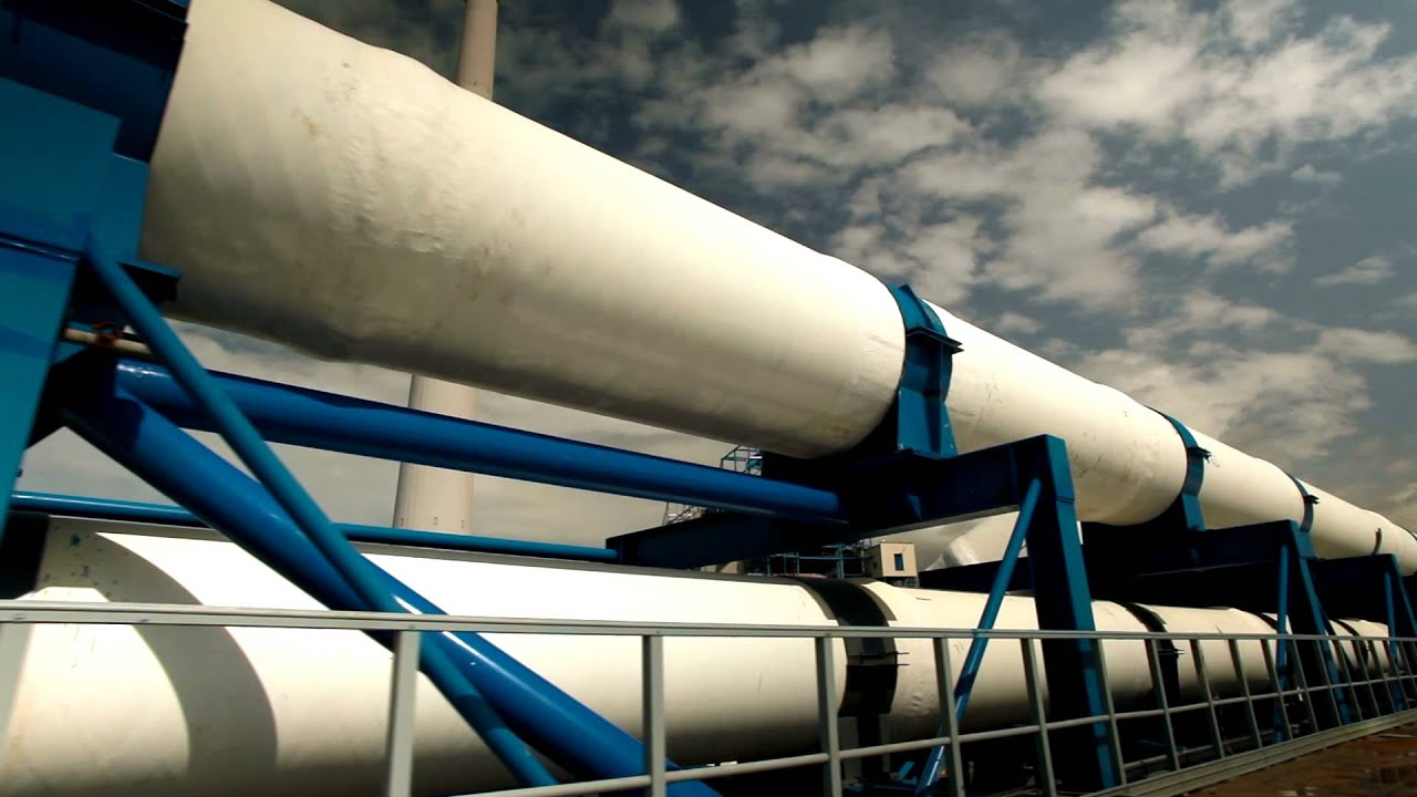 Stock Footage of the pipeline supports at a desalination plant in