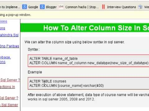 How To Alter Column Size In Sql Server