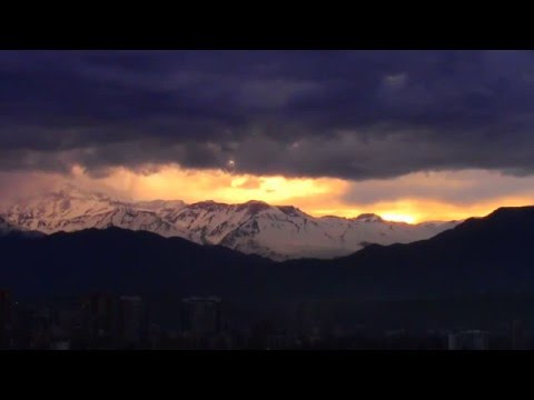 Amazing Snow falls at mount Andes in Santiago, Chile