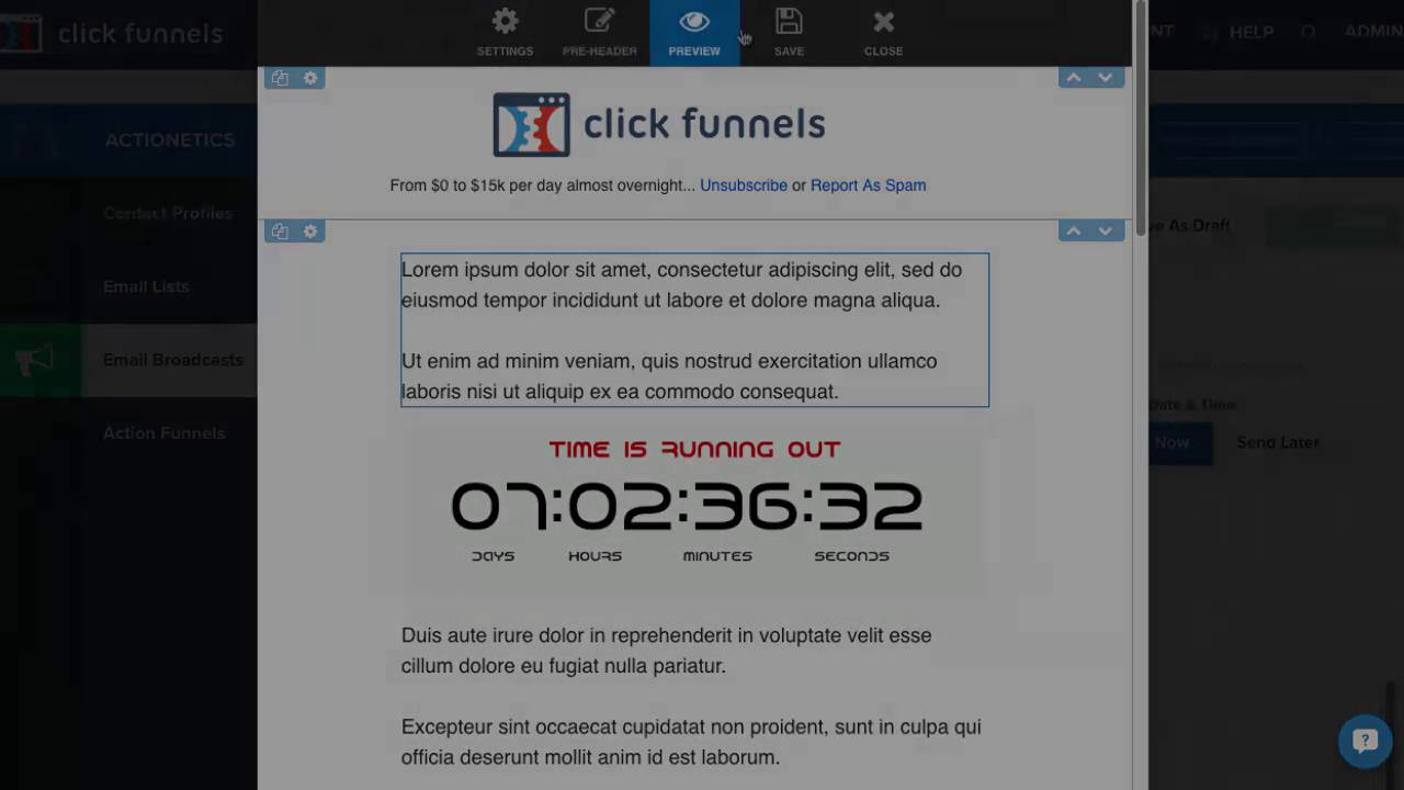How to Integrate Outtatimr With ClickFunnels / Actionetics Emails