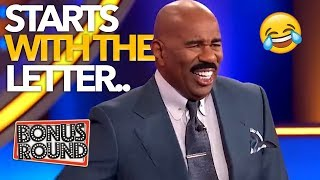 STEVE HARVEY ASK'S... Name Something Starts With The Letter... Funniest Answers On Family Feud!
