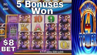 Buffalo Slot Machine  Bonuses Won & Buffalo's HUGE Line Hit ! MAX BET Live Slot Play ! WONDER TOWER