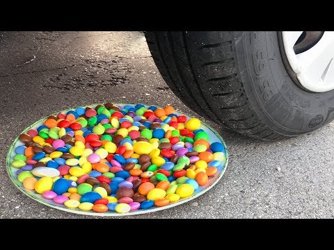 Crushing Crunchy & Soft Things by Car! - EXPERIMENT: CAR VS RAINBOW M&M's Plate