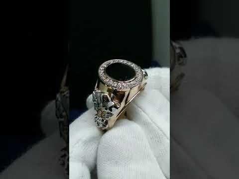 Мужской перстень с крупным Сапфиром и бриллиантами