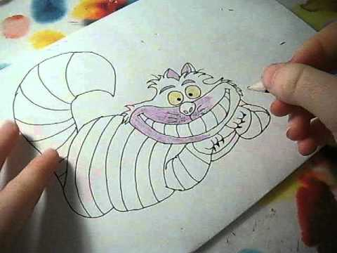 how to draw cheshire cat