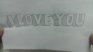 Vẽ chữ I LOVE YOU phối cảnh nghệ thuật 3D - Draw I LOVE YOU 3D art