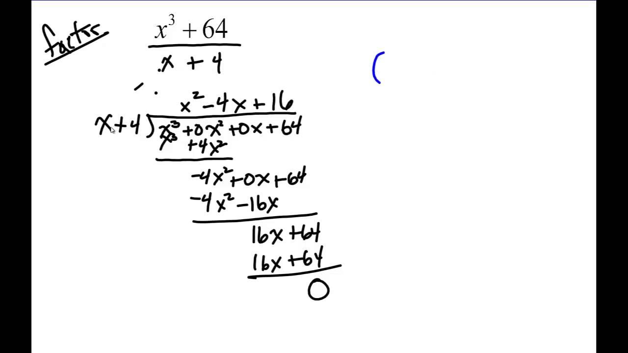 Dividing And Factoring Perfect Cube Polynomials