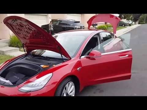 Red Production Tesla Model 3 Walk Around | Red Model 3 With Huge Trunk Space | First Look at Model 3