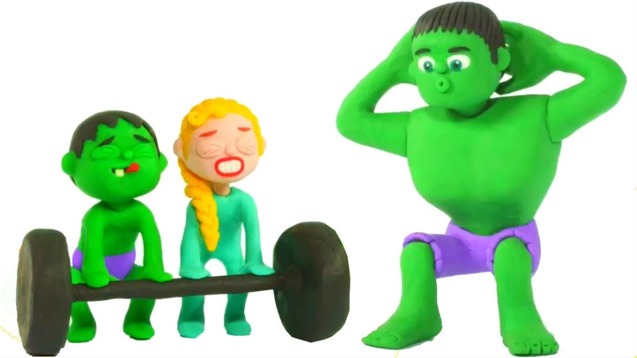 hulk gets fit spiderman hulk frozen play doh cartoons for kids youtube. Black Bedroom Furniture Sets. Home Design Ideas