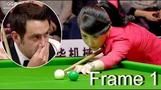 frame 1, ronnie   won pan xiaoting (  china girl ) 6 red snooker  special match