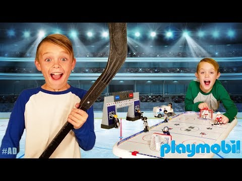 Bro Vs Bro NHL Hockey Challenge & Scavenger Search For The Missing Playmobil Toys!