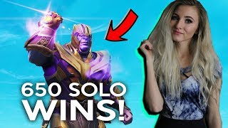 Fortnite - THANOS GAMEPLAY! NEW GAME MODE. 650 SOLO WINS. 8000+ KILLS. SEASON 4 GRIND!