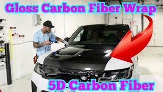 Gloss Carbon Fiber Wrap - Hood Wrap Design - 5D carbon fiber vinyl