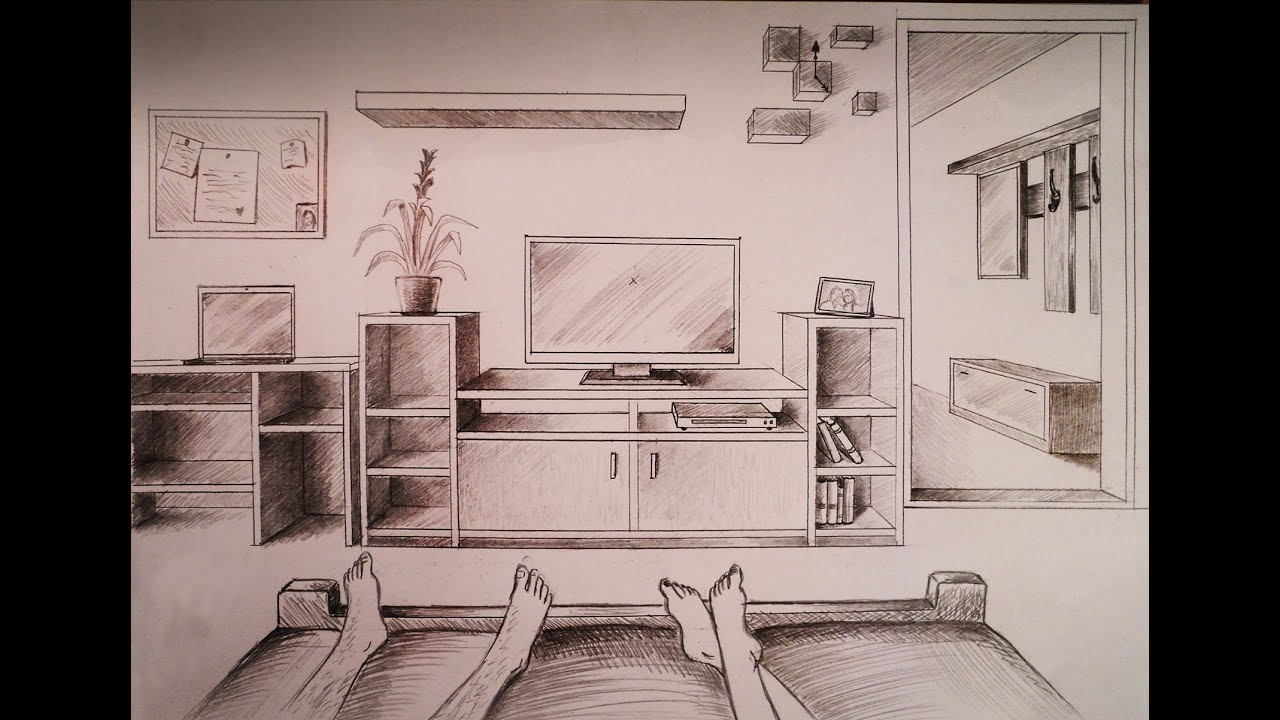 How to draw one point perspective bedroom with furniture - One point perspective drawing living room ...