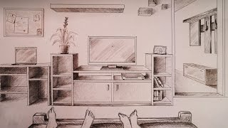 How to draw - one point perspective bedroom with furniture