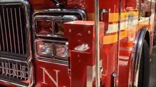 WALK AROUND FDNY TOWER LADDER 13 NEAR VANDERBILT AVENUE IN MIDTOWN, MANHATTAN, NEW YORK CITY.