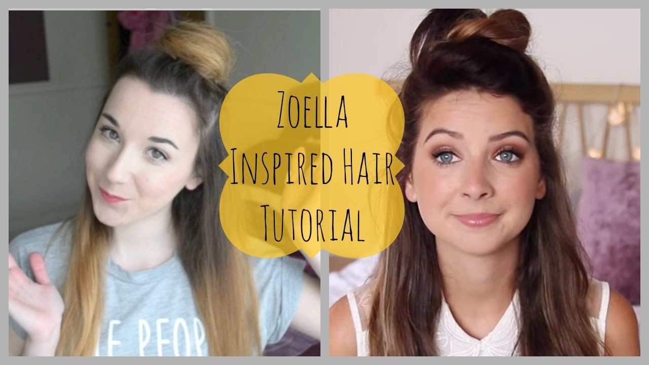 Zoella Inspired Half Up Half Down Bun Tutorial - YouTube