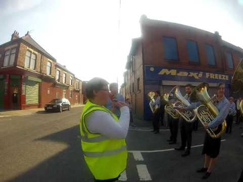 Horden miners banner parade, Peterlee, County Durham. England.
