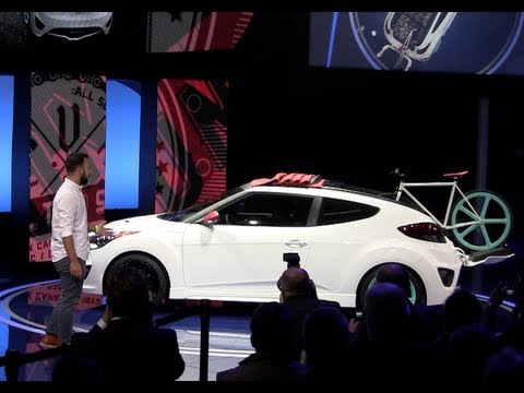 Hyundai Veloster C3 Roll Top Concept Sort Of Swallows A Bike At The 2012 LA Auto Show