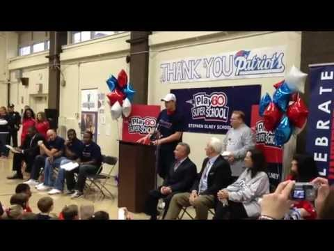 Patriots players stress fitness at North Providence school