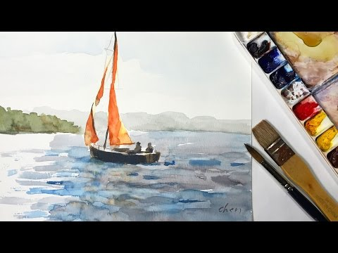 How to watercolor painting a sailboat without pencil drawing - short version
