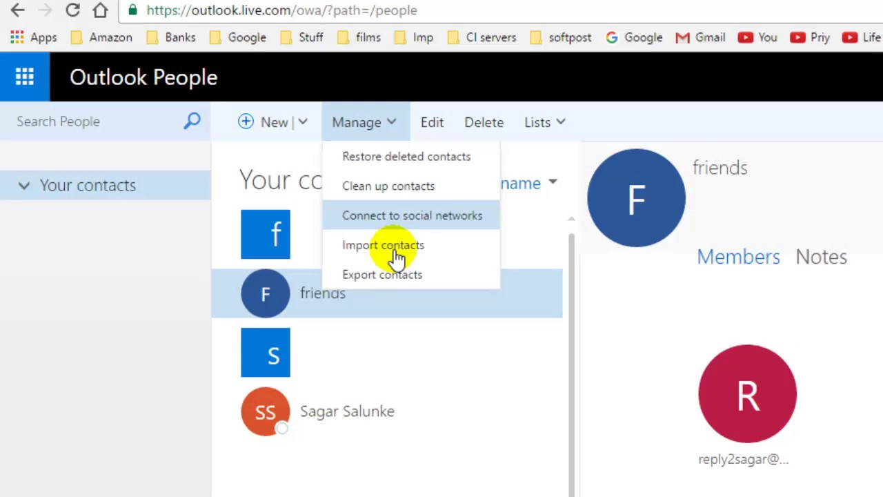 How to export contacts in outlook webmail 365