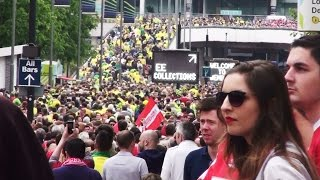 Walking To Wembley Stadium - Middlesbrough & Norwich City Fans.Championship Play Off Final.May 2015
