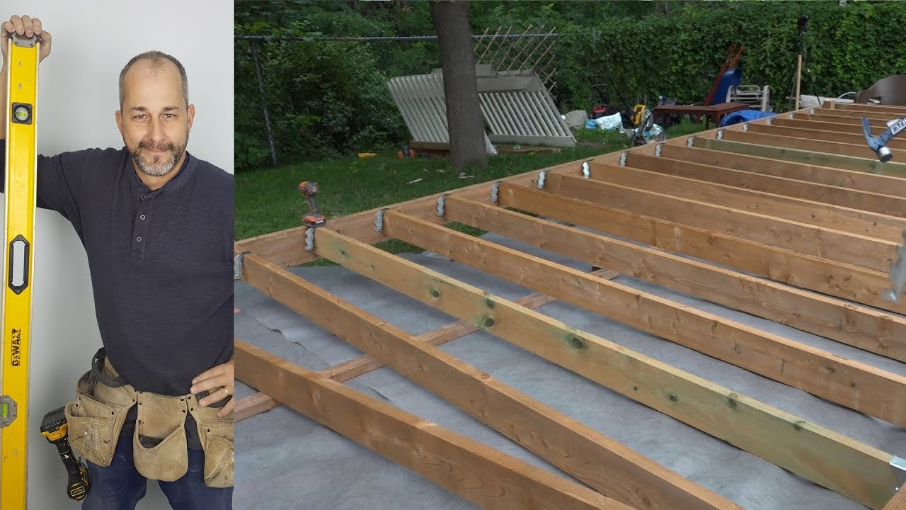 How to build a deck part 3 ground level deck youtube Building a deck