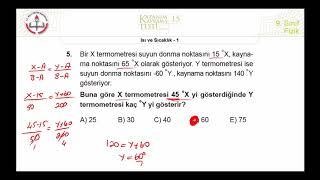 9.Sınıf MEB Fizik Kazanım Kavrama Testi-15 +PDF ( Isı ve Sıcaklık-1 ) [2019-2020]