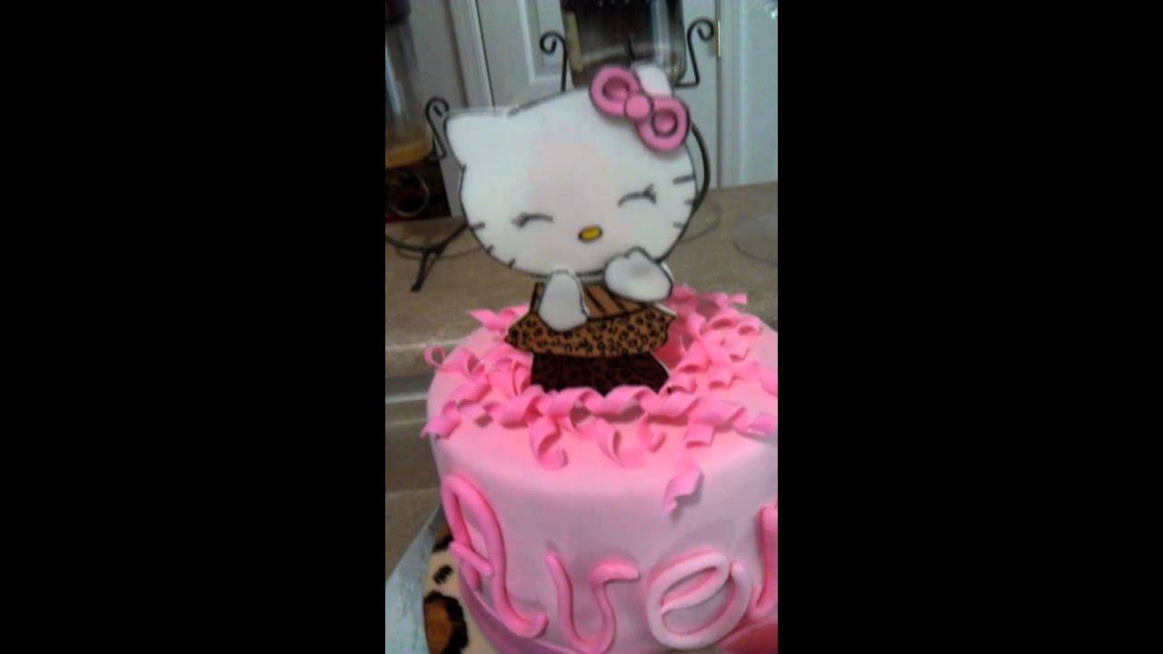 Hello Kitty Theme Cheetah Print Cake   YouTube