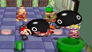 Mario Party 2 - All Funny Minigames #8 - Yoshi vs Wario vs Mario vs DK (Master CPU)