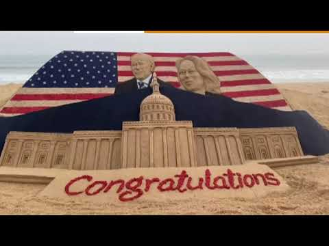 Indian sand artist sends good wishes to Biden and Harris