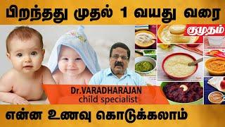 குழந்தை பிறந்தது முதல் ஒரு வயது வரை என்ன உணவு கொடுக்கலாம்? – Dr.Varadharajan Food Timetable for baby