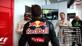 Max Verstappen podium at Brazil GP 2016 and goes to the cool down room